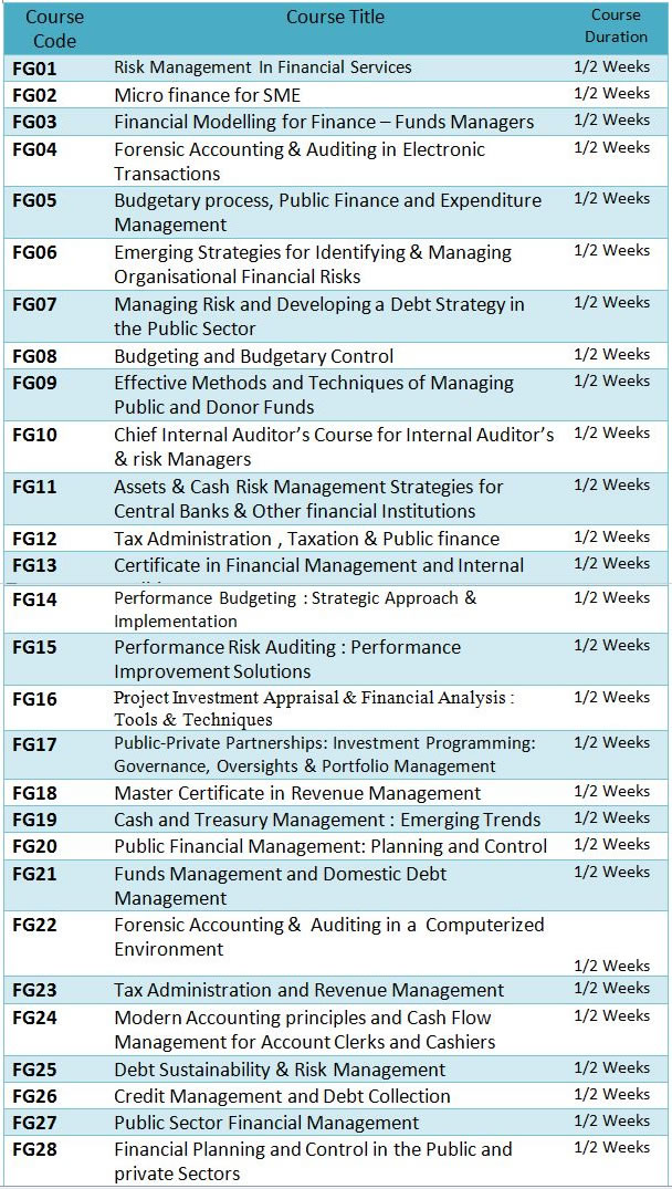 FINANCIAL MANAGEMENT, ACCOUNTING AND AUDITING PROGRAMMES1